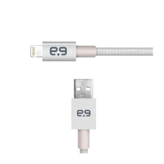 4ft Lightning to USB-A Metallic Braided Cable - Silver