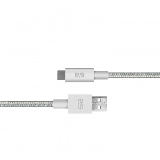 4 ft., USBA 2.0 to USBC 2.0 Cable, Metallic Braided Silver