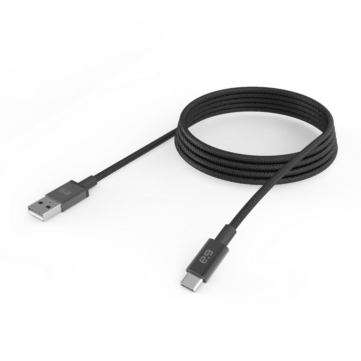 10ft Braided USB-A to USB-C 2.0 Cable - Black