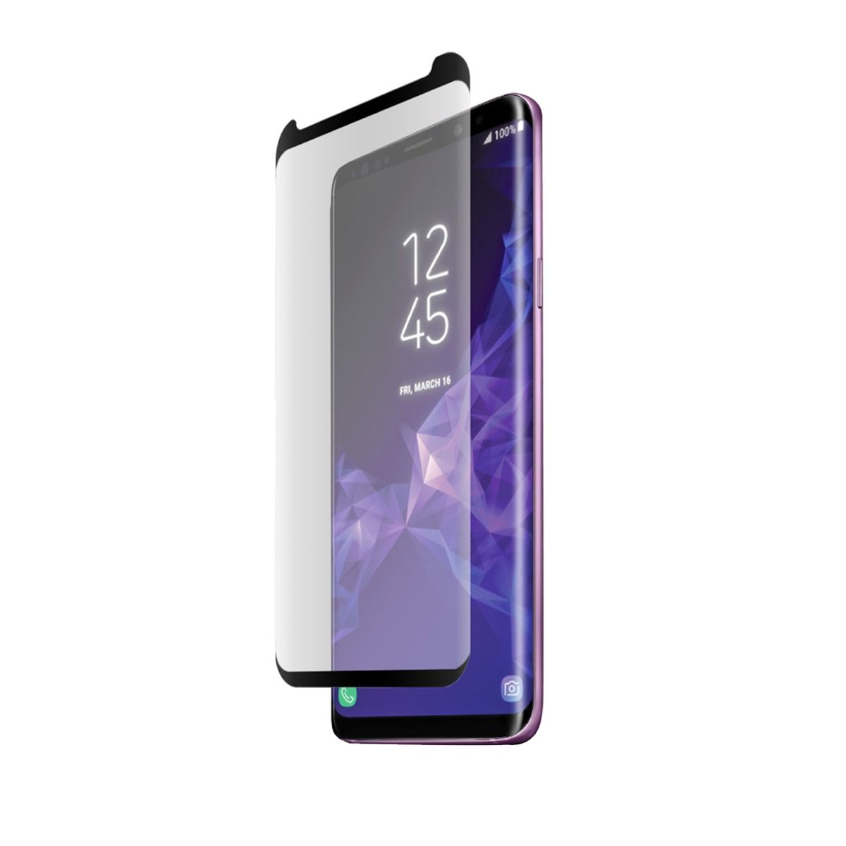 Samsung Galaxy S9 High-Definition Curved Glass Screen Protector with Top/Bottom Black Border and Alignment Tray