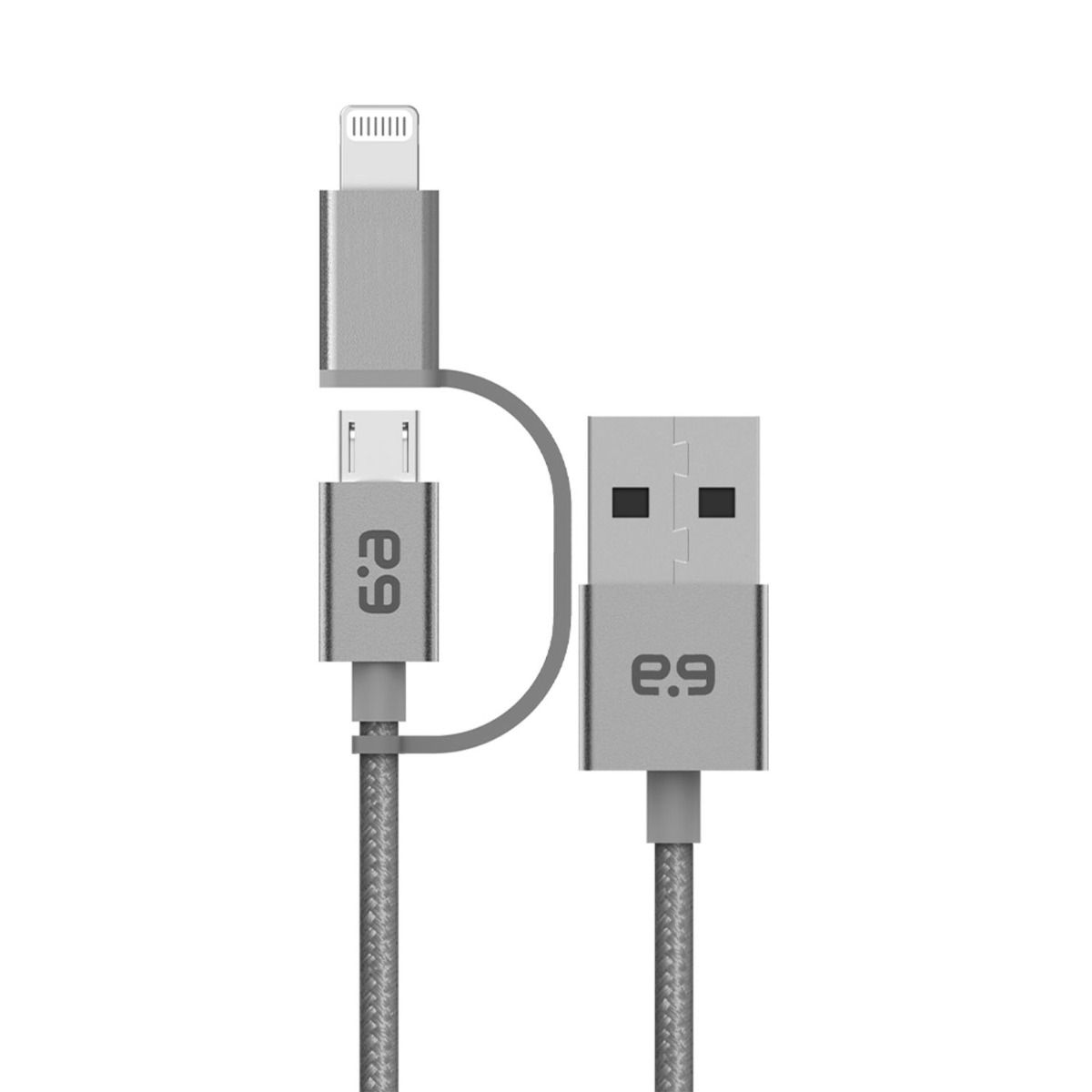 Braided USB-A to 2-in-1 Micro-USB + Lightning Cable (9 in)