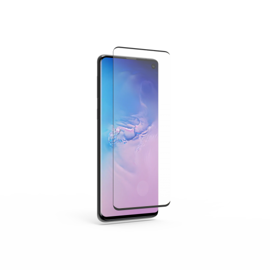 Samsung Galaxy S10 High-Definition Curved Glass Screen Protector with Fingerprint Sensor Ready and Black Borders and Alignment Tray