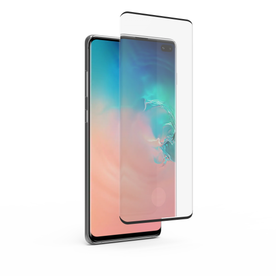 Samsung Galaxy S10 Plus High-Definition Curved Glass Screen Protector with Fingerprint Sensor Ready and Black Borders and Alignment Tray