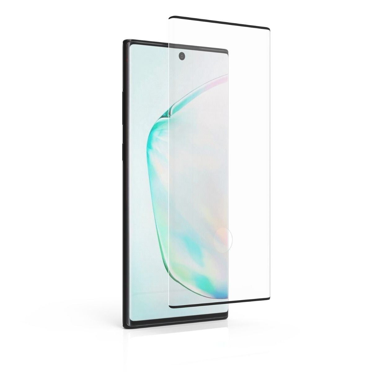 Samsung Galaxy Note10+ High-Definition Curved Glass Screen Protector with Fingerprint Sensor Ready and Black Borders and Alignment Tray