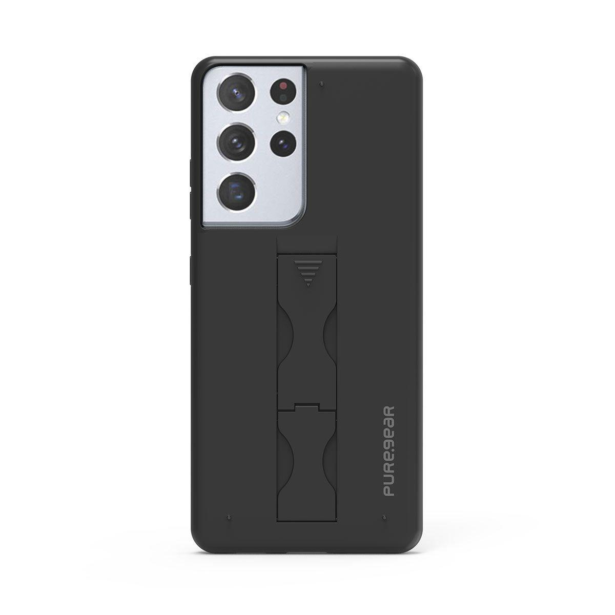 Samsung Galaxy S21 Ultra 5G SlimStik, Antimicrobial Kickstand Case – Soft Touch Black