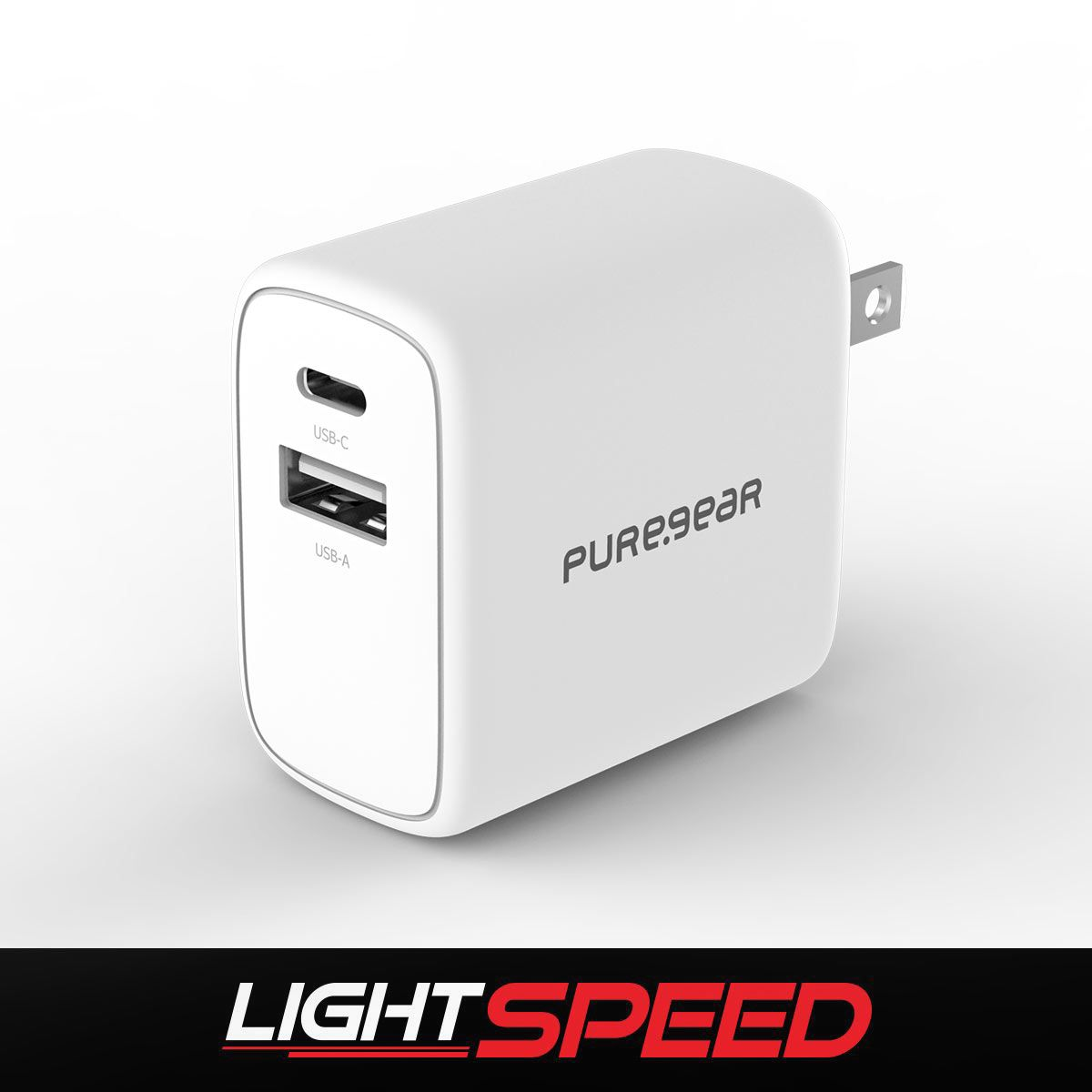 LightSpeed - 30W Dual Port USB-A + USB-C PD Wall Charger - White