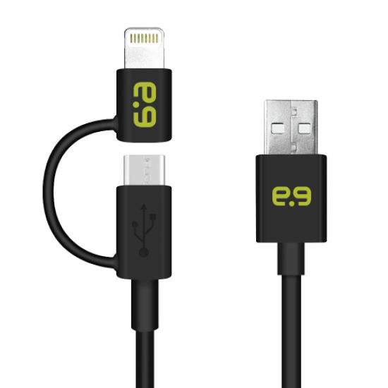 4 Feet 2-in-1 Universal Charge-Sync Cable with Lightning to Micro USB Adapter - Black