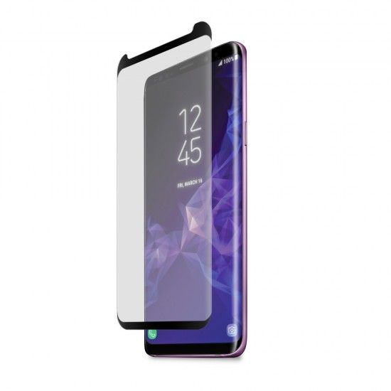 Samsung Galaxy S9+ High-Definition Curved Glass Screen Protector with Top/Bottom Black Border and Alignment Tray